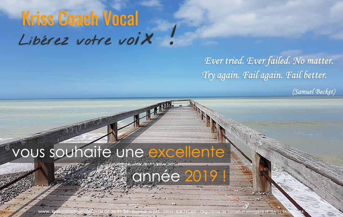 Kriss coach Vocal Expressions Christine Moussot voux souhaite une excellente année 2019!